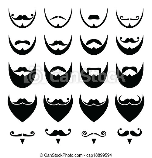 Beard with moustache or mustache  - csp18899594