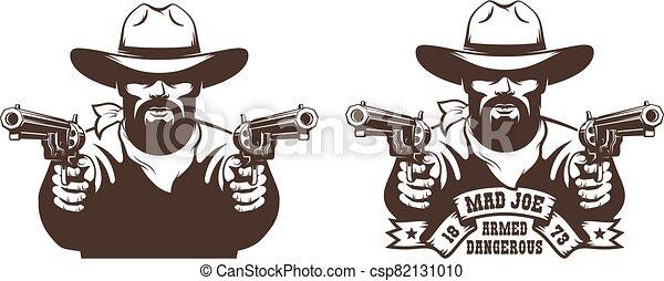 Bearded Cowboy wild west gunfighter tattoo - csp82131010