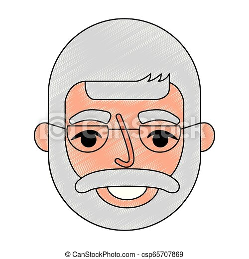bearded grandfather face with glasses - csp65707869