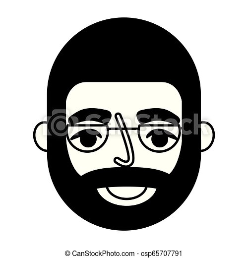 bearded grandfather face with glasses - csp65707791
