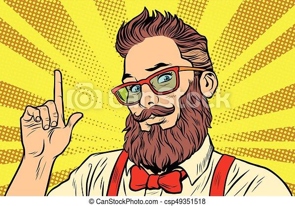 Bearded hipster man portrait pointing finger - csp49351518