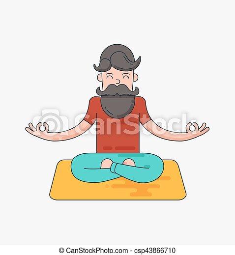 Bearded man in meditation - csp43866710