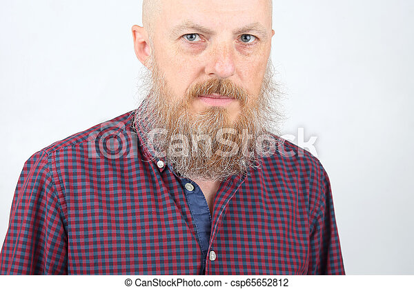bearded man on a white background - csp65652812