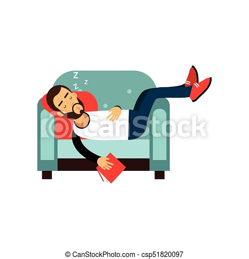Bearded man sleeping on armchair with book, relaxing person cartoon vector illustration - csp51820097