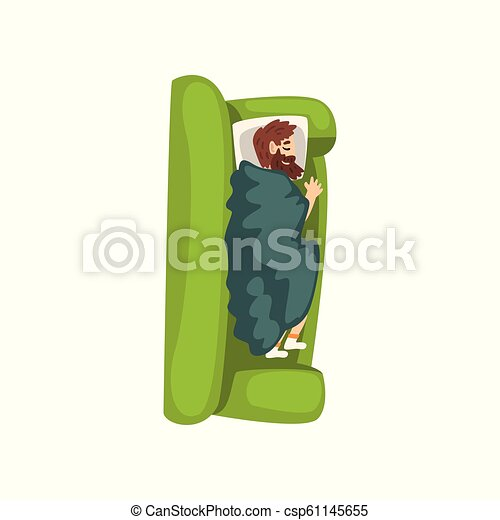 Bearded man sleeping on the sofa, view from above vector Illustration on a white background - csp61145655