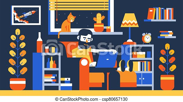 Bearded Man with laptop on armchair work home in room interior - csp80657130