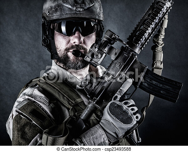 Bearded special forces soldier - csp23493588