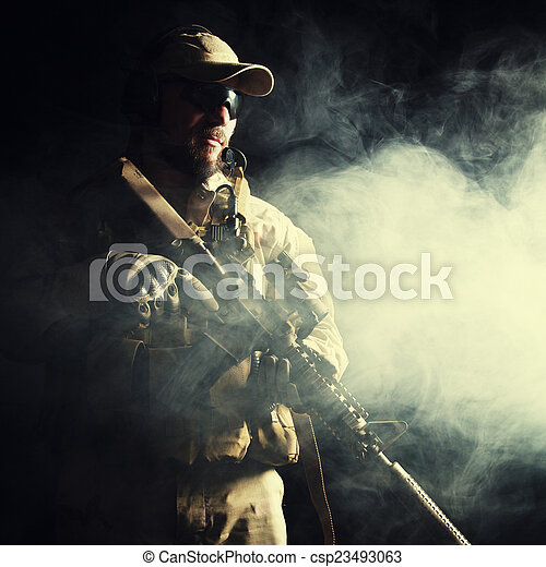 Bearded special forces soldier - csp23493063