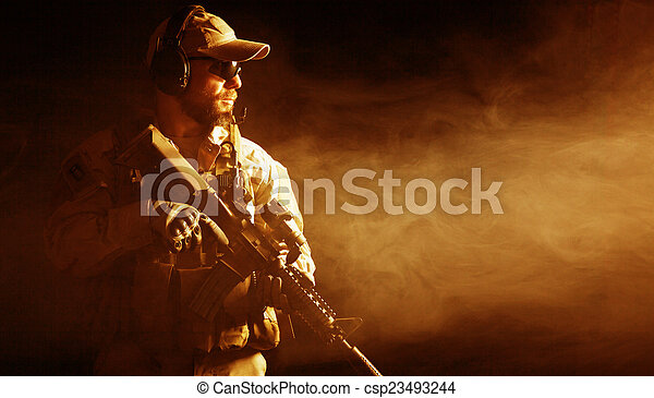 Bearded special forces soldier - csp23493244