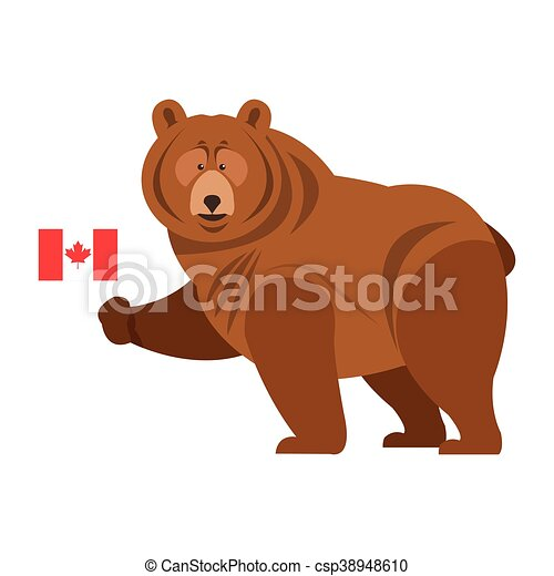 beare, canadees, grizzly, pictogram, vlag - csp38948610