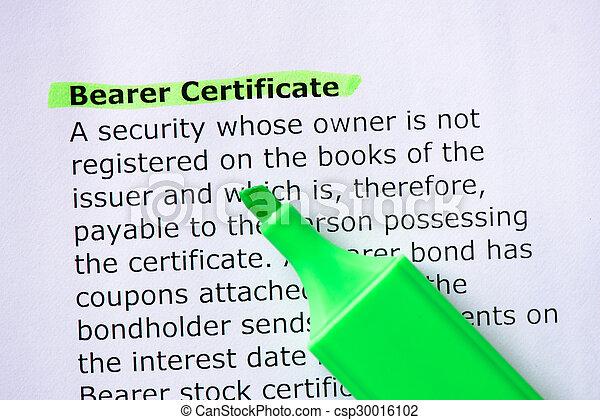 Bearer Certificate - csp30016102