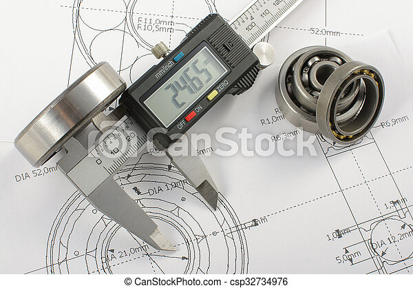 Bearing and caliper on the mechanic - csp32734976