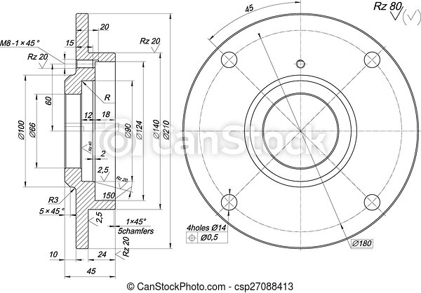 bearing sketch with chamfers engineering drawing sketch pencil and paper clipart black and white Pencil Clip Art
