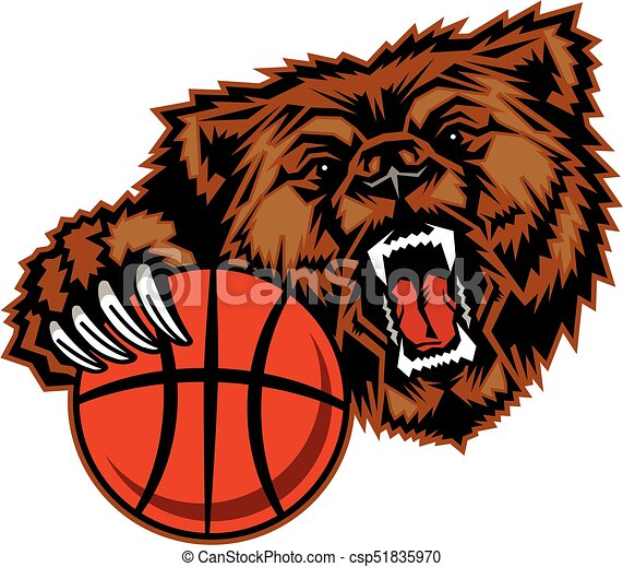 bears basketball mascot with claw holding ball for school bear claw graphic Bear Claw Drawings