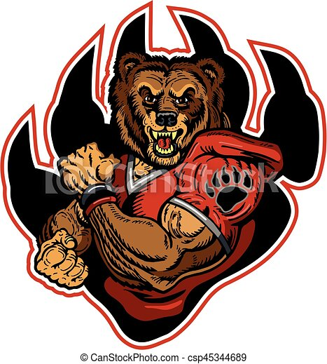 muscular bears football player mascot inside large claw for school rh canstockphoto com  bear cub mascot clipart