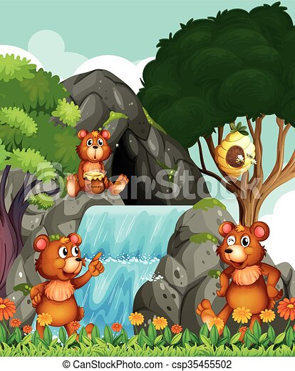 Bears relaxing by the waterfall - csp35455502