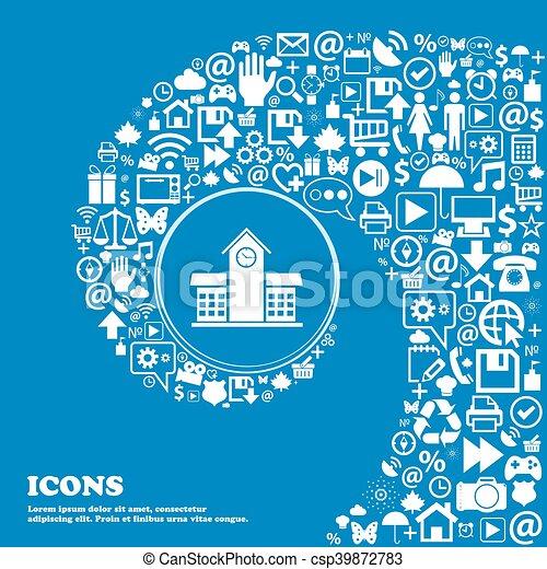 beau, école, ensemble, centre, icônes, tordu, spirale, une, grand, vecteur, professionnel, icon., gentil, icône - csp39872783