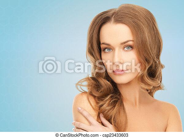beau, épaules, femme, nu, jeune - csp23433603