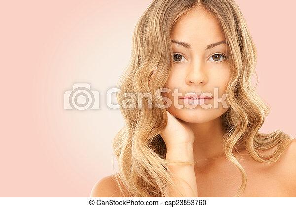 beau, épaules, femme, nu, jeune - csp23853760