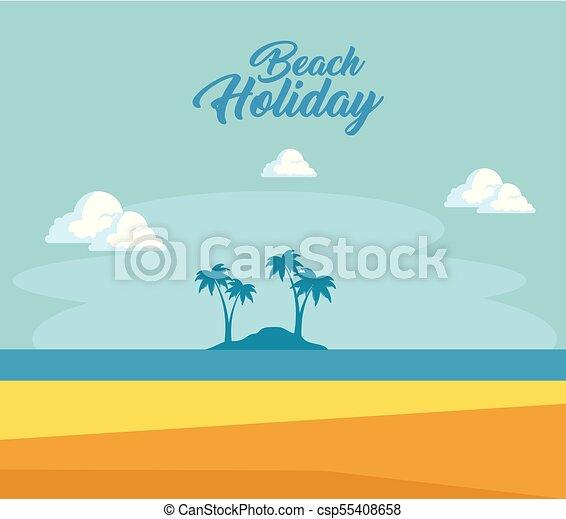 beau, été, conception, temps, plage, paysage - csp55408658