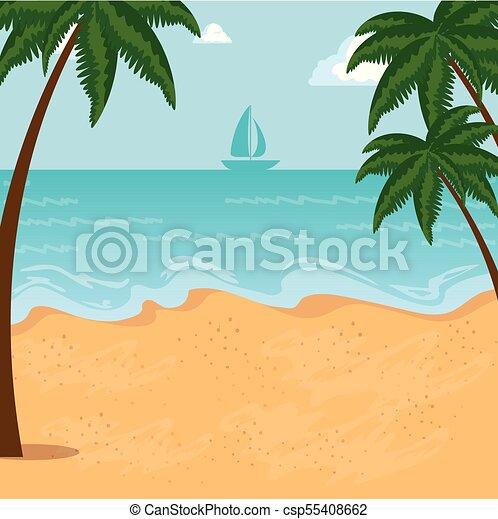 beau, été, conception, temps, plage, paysage - csp55408662