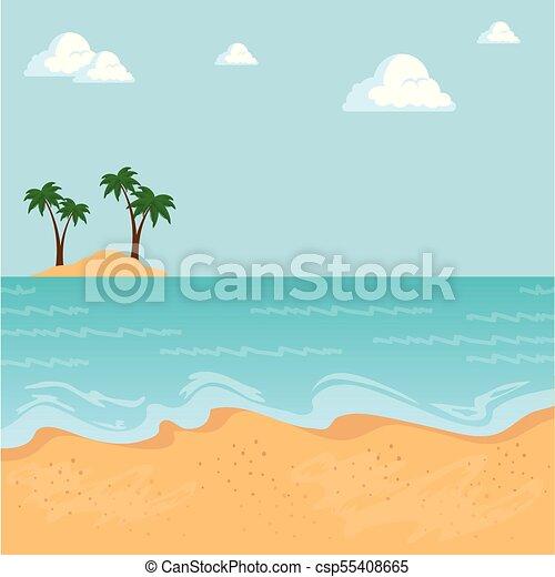 beau, été, conception, temps, plage, paysage - csp55408665