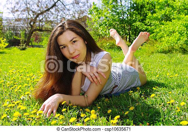 beau, été, girl, jardin - csp10635671