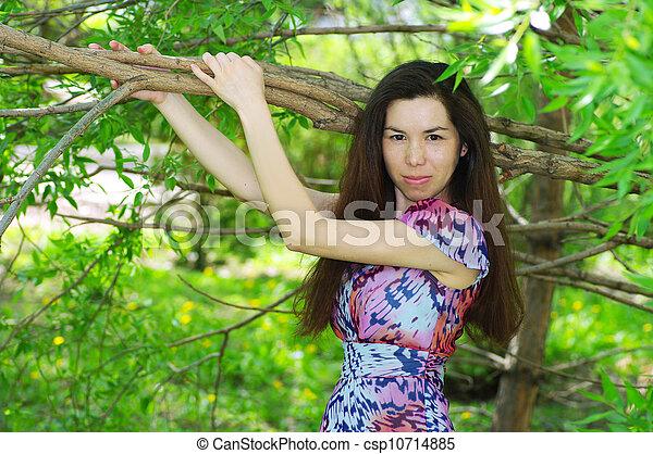 beau, été, girl, jardin - csp10714885