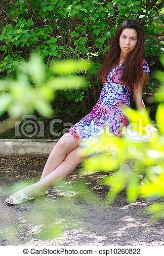 beau, été, girl, jardin - csp10260822