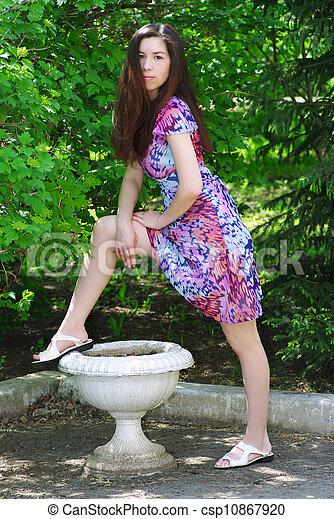 beau, été, girl, jardin - csp10867920