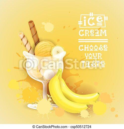 beau, été, nourriture, doux, glace, délicieux, dessert, logo, bannière, crème - csp50512724