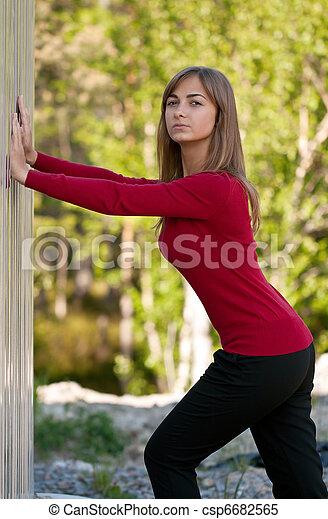 beau, acier, pourpre, mur, dehors, girl, robe - csp6682565