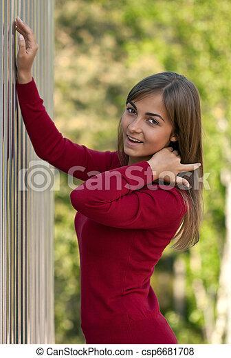 beau, acier, pourpre, mur, dehors, girl, robe - csp6681708