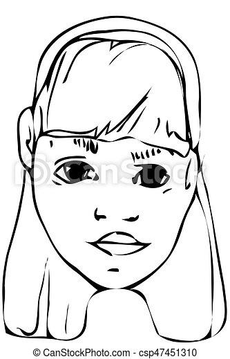 Beau Adolescent Croquis Vecteur Blond Girl