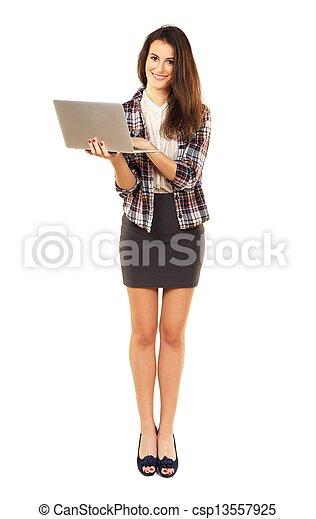 beau, apprécier, femme, internet, brouter - csp13557925