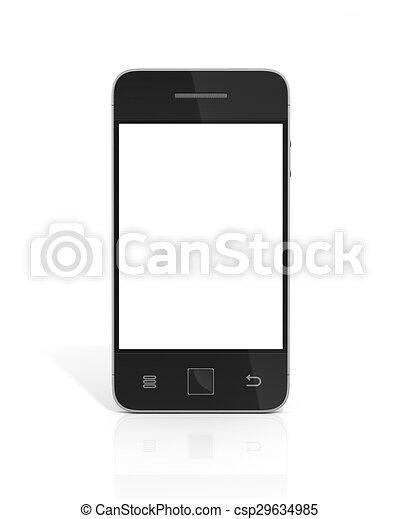beau, arrière-plan., blanc, smartphone - csp29634985