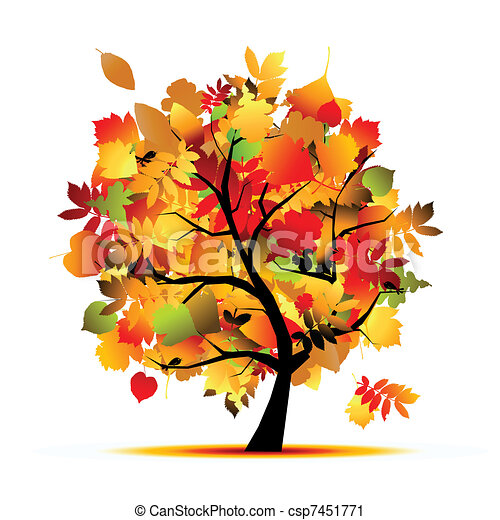beau, automne, conception, arbre, ton - csp7451771