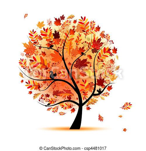 beau, automne, conception, arbre, ton - csp4481017