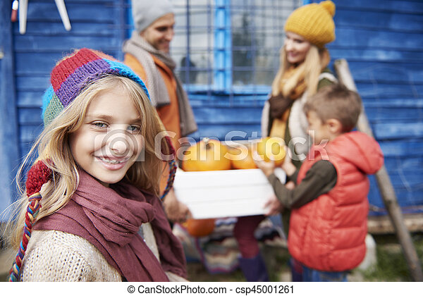 beau, automne, girl, famille - csp45001261