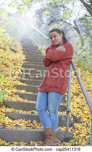 beau, automne, girl, glacial - csp25411318