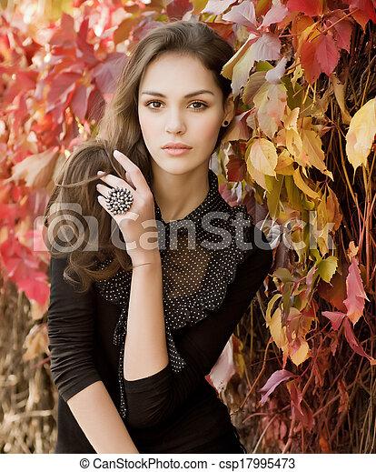 beau, automne, girl, jardin - csp17995473