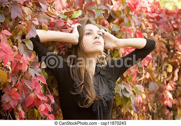 beau, automne, girl, jardin - csp11870243