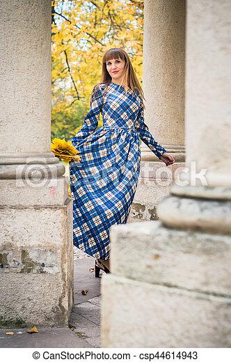 beau, automne, girl, parc - csp44614943