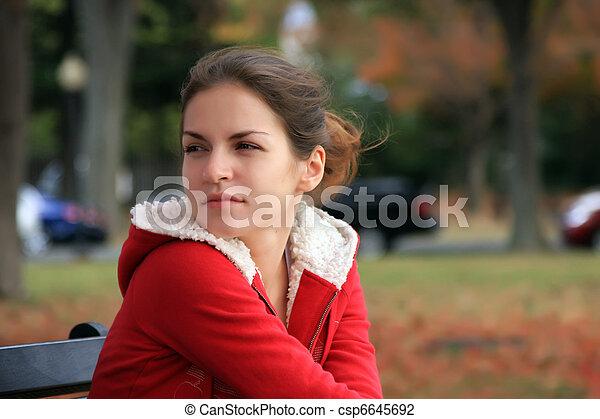 beau, automne, girl, parc - csp6645692