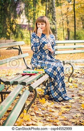 beau, automne, girl, parc - csp44552999