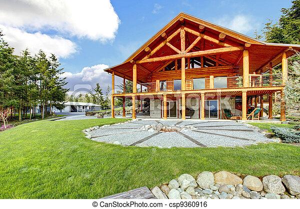 beau, bûche, classique, porch., américain, cabine - csp9360916