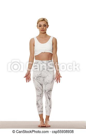beau, blanc, femme, jeune, vêtements de sport - csp55938938