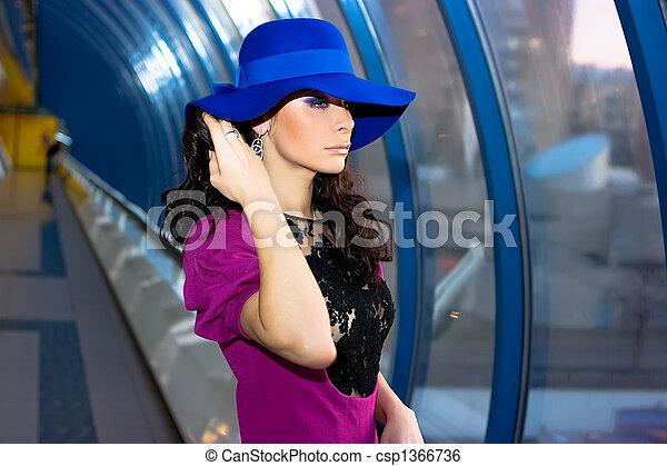beau, bleu, robe pourpre, girl, chapeau - csp1366736