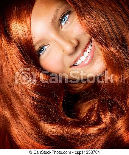 beau, bouclé, sain, longs cheveux, hair., girl, rouges - csp11353704