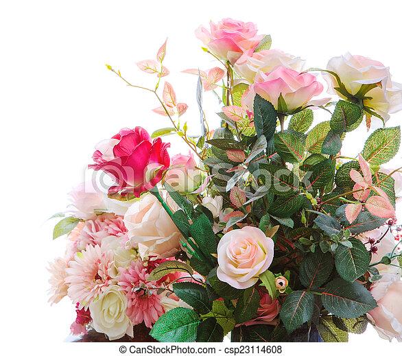 beau, bouquet, arragngement, artificiel, isolé, roses, fleurs - csp23114608